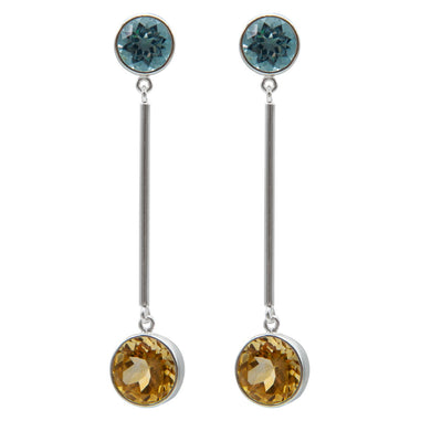 Minimalist blue topaz and citrine earrings