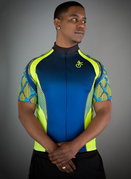 8f42f53ce Bold and unique blue and yellow men s cycling jersey by Kaiser Cycling  Apparel.