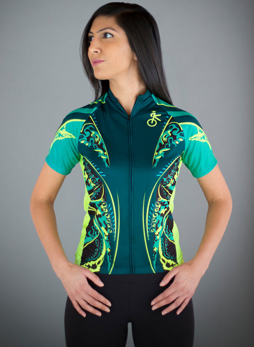 1ced22a52 Bold and unique green and yellow women s cycling jersey by Kaiser Cycling  Apparel