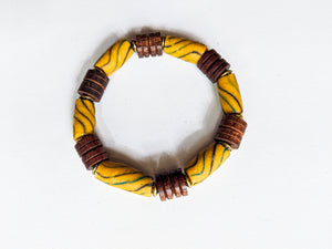 7mm Yellow Trade Bead | Wood Bead Bracelet