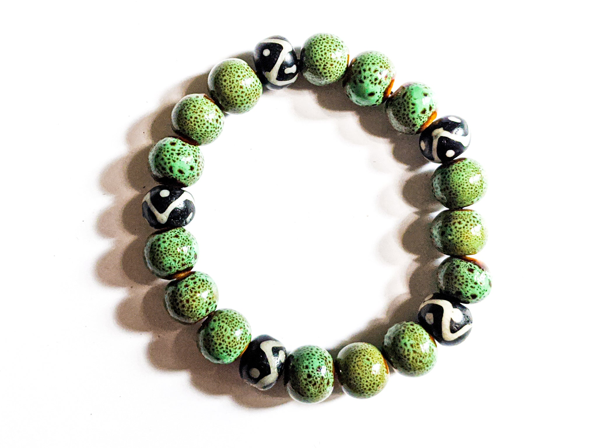 8mm Black And White African Trade | Green Ceramic | Bead Bracelet