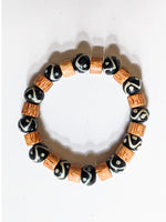 7mm Wood | Black & White Trade Beads