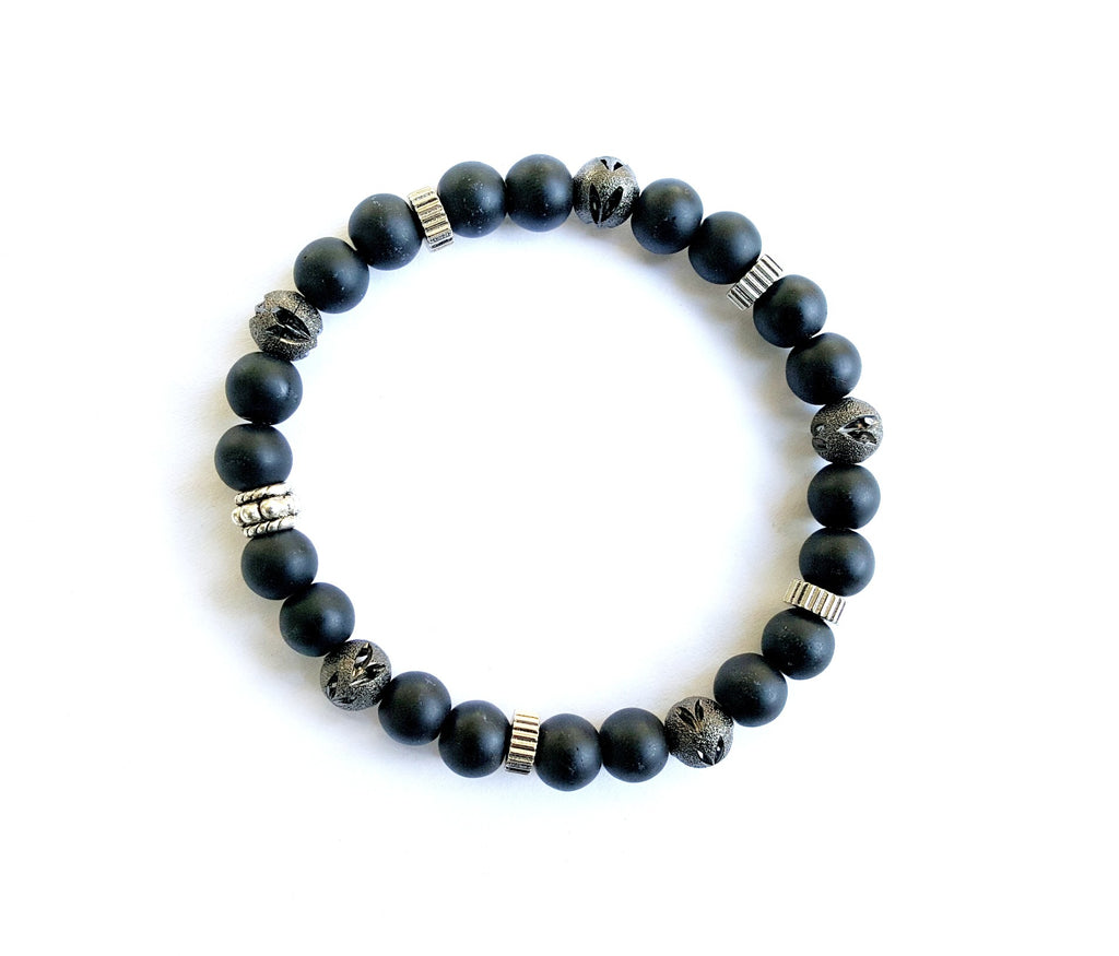 6mm Matte Black | Etch Metal | Sterling Silver Bracelet