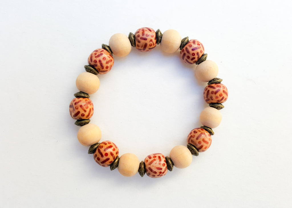 6mm Wood | Mud Cloth | Brass Bead Bracelet