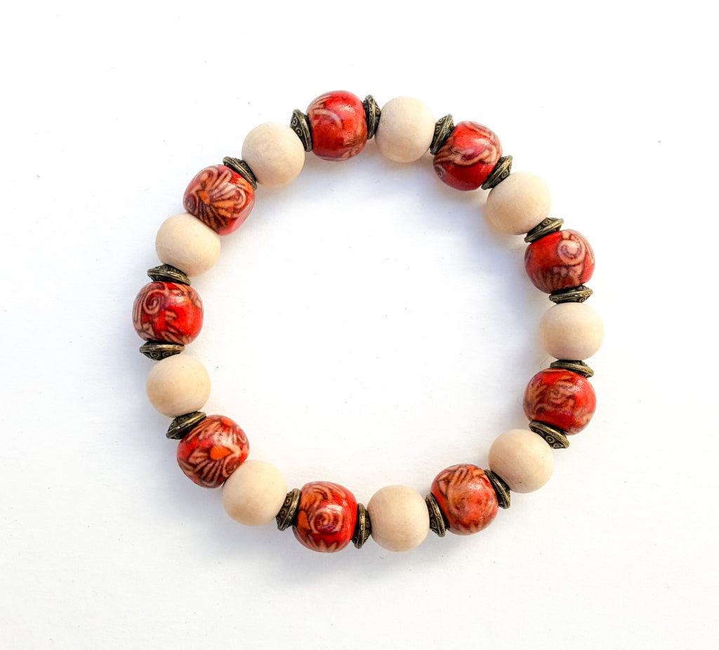 6mm Wood | Baltic | Brass Bead Bracelet