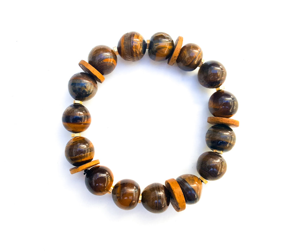 8mm Cats Eye | Brass | Wood Bead Bracelet