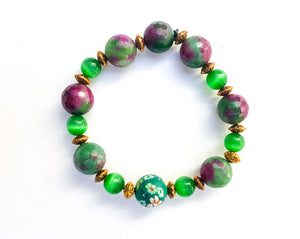 8mm Ruby Zoisite | Green Aventurine | Gold Plated Bracelet