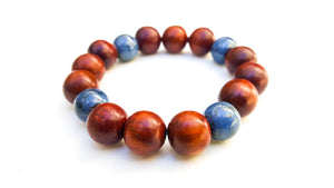 8mm Wood | Blue Coral Bracelet