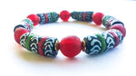 Red, Black, Green, & Gold African Trade Bead Bracelet