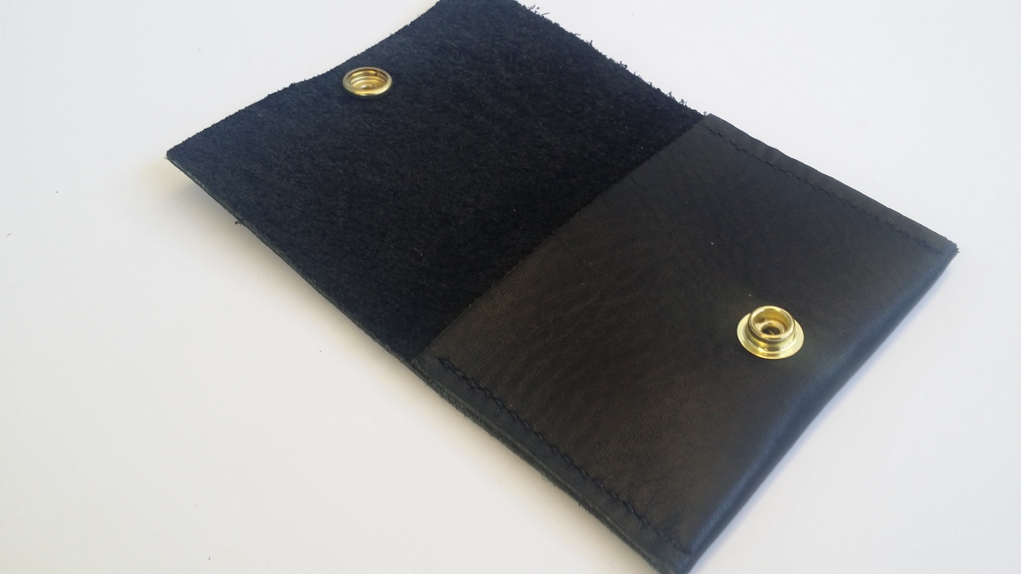 Timbo Black Leather Wallet With Black Stitching | Mens Front Pocket Wallet