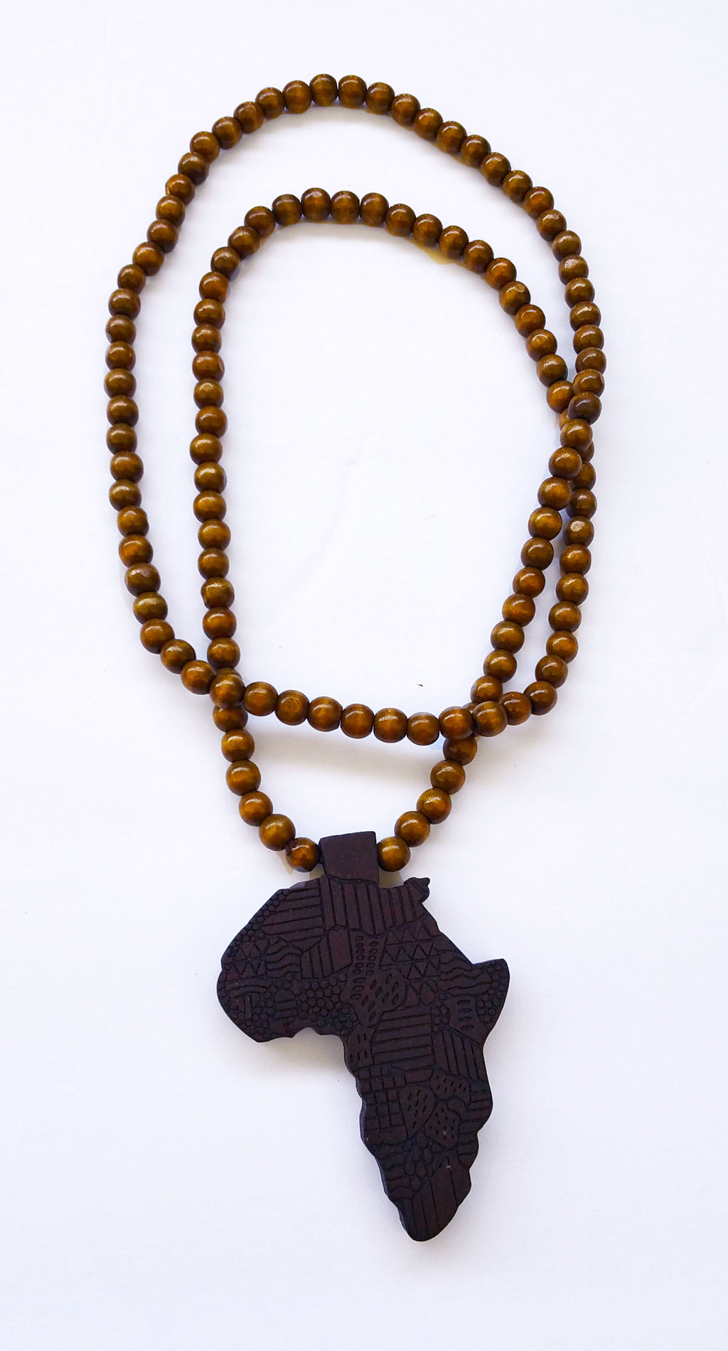 "31"" African Wood Bead Laser Cut Medallion Necklace"