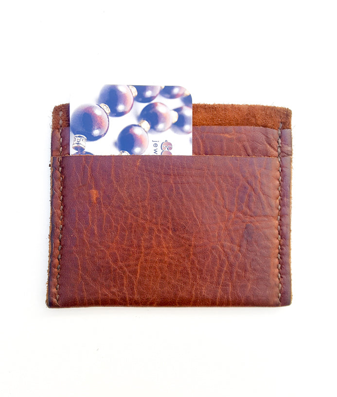Premium Rough Brown Leather Vertical Card Holder