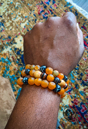 8MM Orange Ghana Glass | Black & White| Bead Bracelet