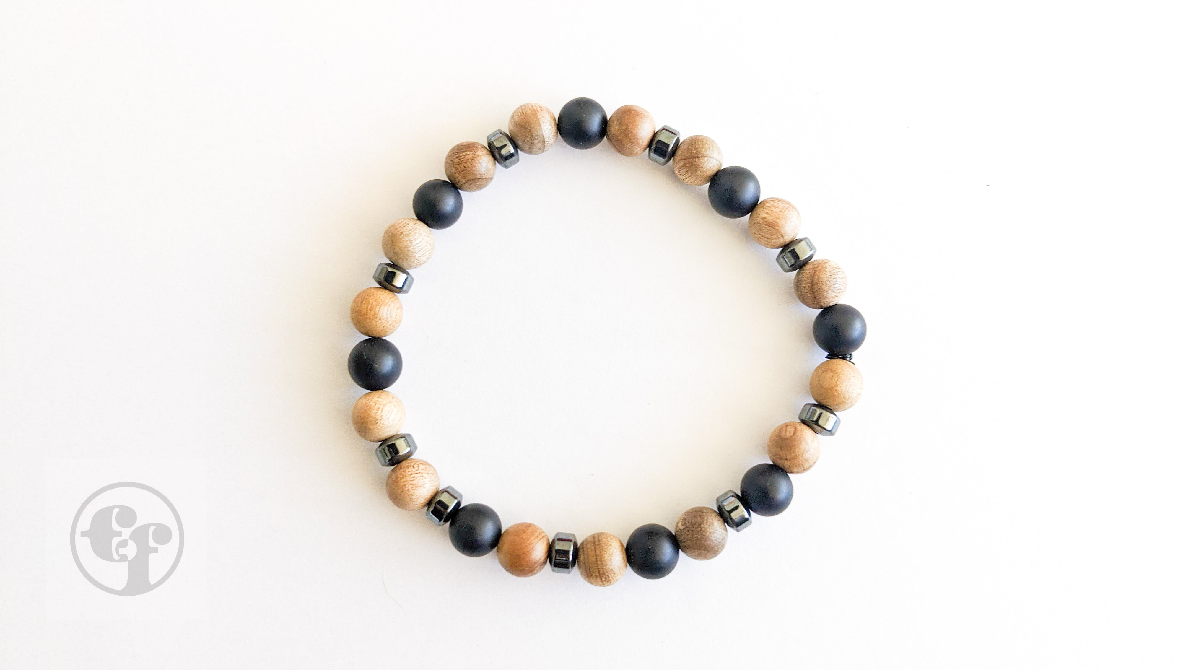 6MM Matte Black Hematite | Sandalwood | Bead Bracelet