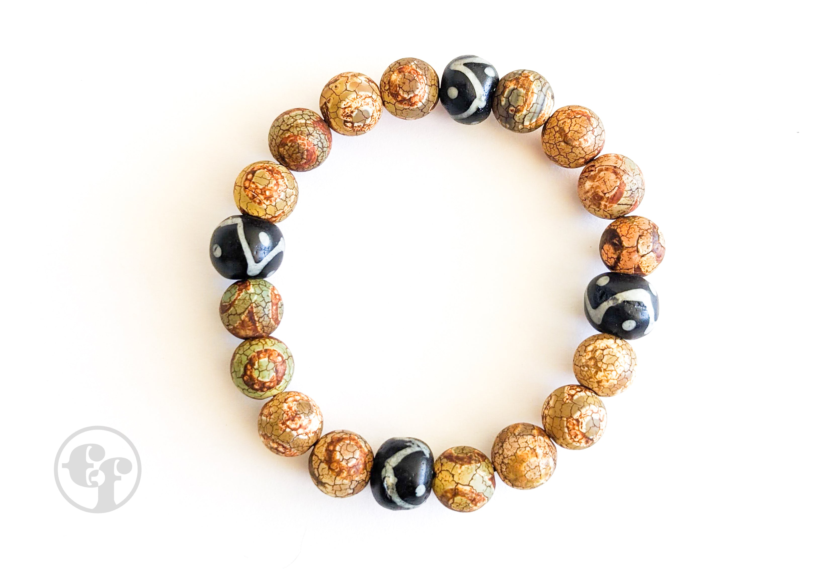 8MM Tibetan Agate | Black & White | Bead Bracelet