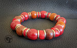 8MM Mahogany & Red Wood | Silver | Bead Bracelet