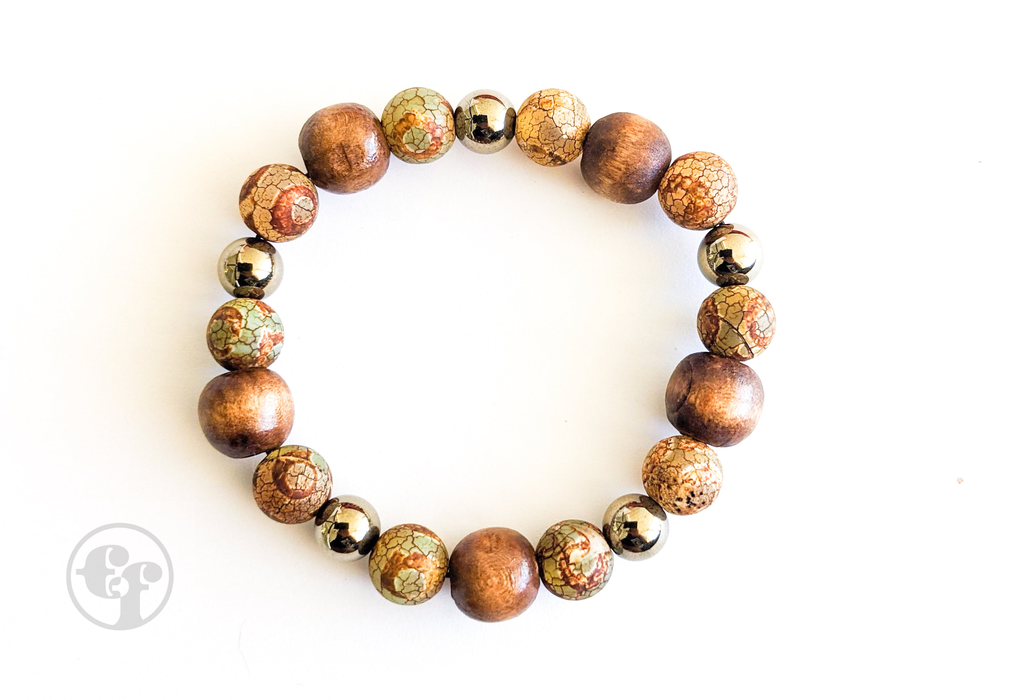 8MM Tibetan Agate | Pyrite | Wood | Bead Bracelet