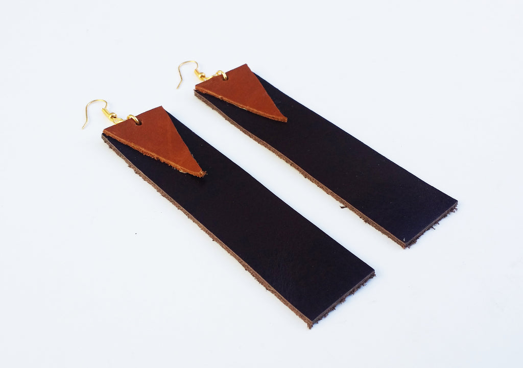 3.5 inch Long Rectangle Leather Earrings