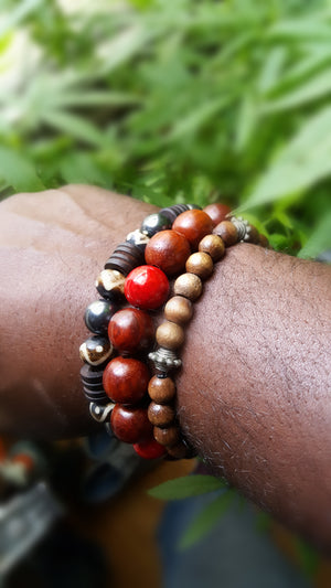 8mm Wood | Red Coral Bracelet