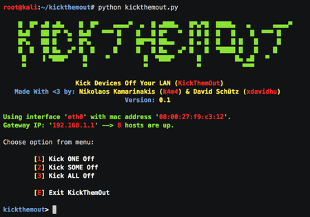 KickThemOut -Tools to Kick Devices out of Your Network and Enjoy all the Bandwidth