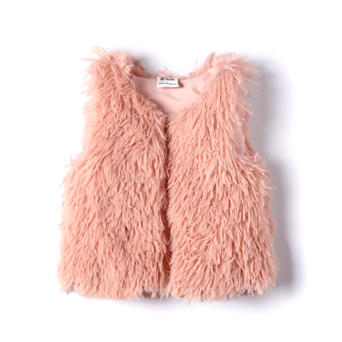 Faux Fur Vest Dusty Pink