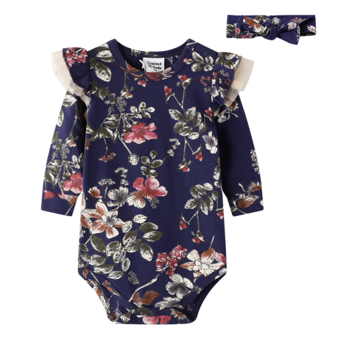 Navy Floral Bodysuit & Headband Set