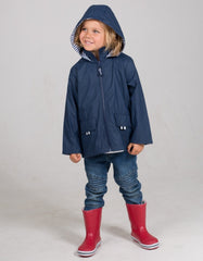 French Soda Navy Blue Zip Unisex Raincoat
