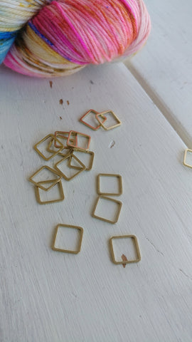 Raw Brass Square Knitting Stitch Markers