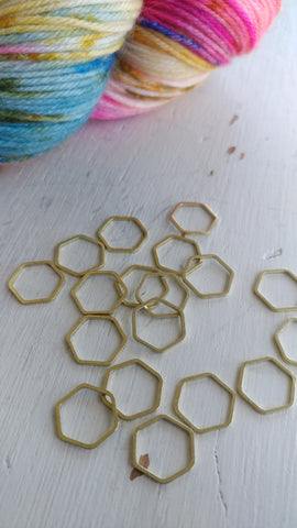 Raw Brass Hexagon Knitting  Stitch Markers