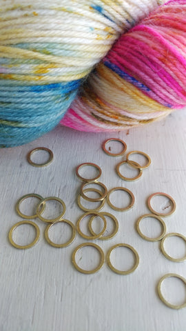 Raw Brass Circle Knitting Stitch Markers