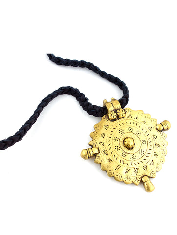 Gold Medallion Braided Black Leather Necklace