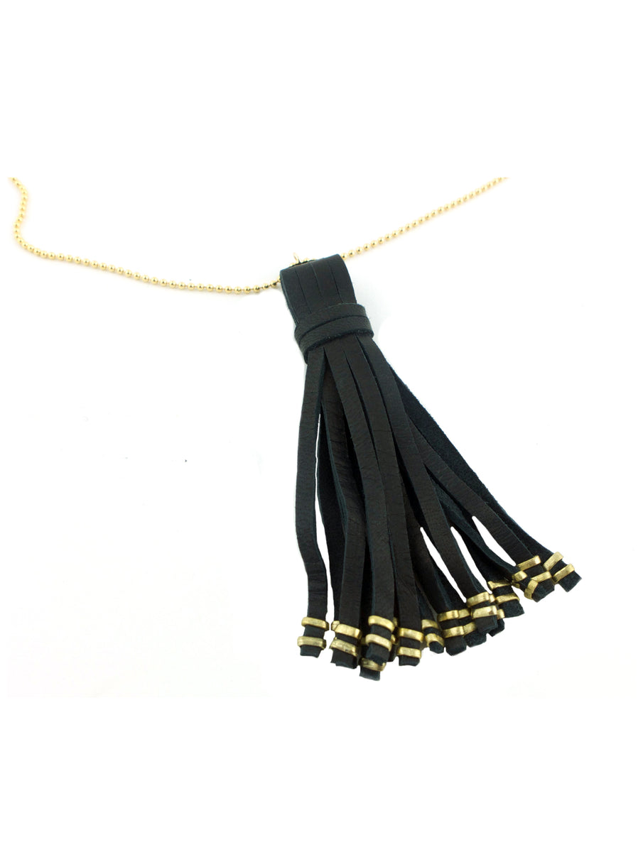 Gold Ball Chain & Black Leather Tassel Necklace