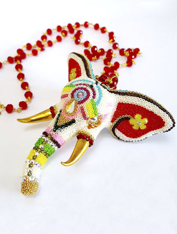 Custom Elephant Ganesha Mala Necklace - Red