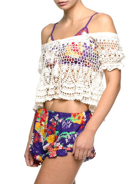 MIDSUMMER CREAM CROCHET CROP TOP - anna kosturova