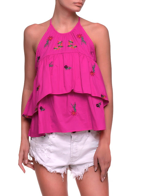 Hot Pink Floral Embroidery Ruffle Halter Top - AM VIBE