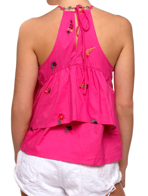 Hot Pink Floral Embroidery Ruffle Halter Top -