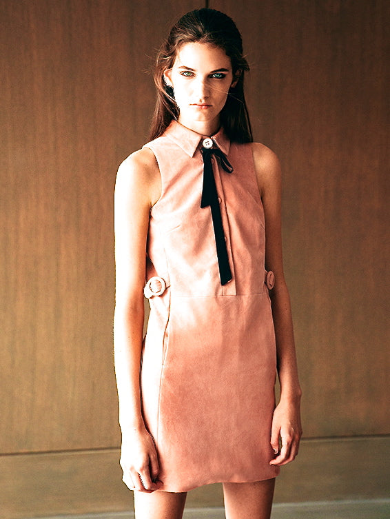 Suede Collared Dress - Pink