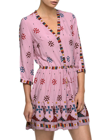 TAOS PINK SUNSET BOHO MINI DRESS