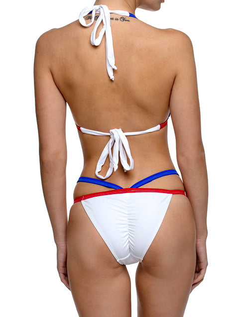 Bastille RED WHITE BLUE Criss Cross Bikini Set - AM VIBE