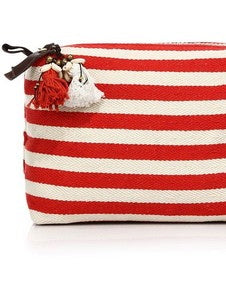 Valerie Red Stripe Puka Shell Cosmetic Bag - amla