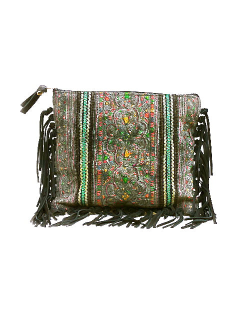 Panada Woven Rich Suede Fringe Clutch Bag