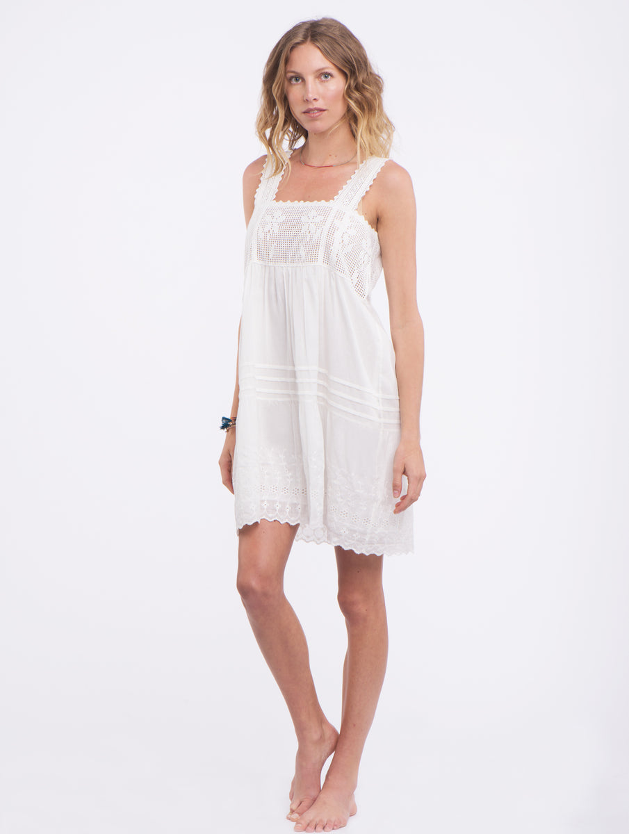 Ivory Dress with Lace - Blue Hippie