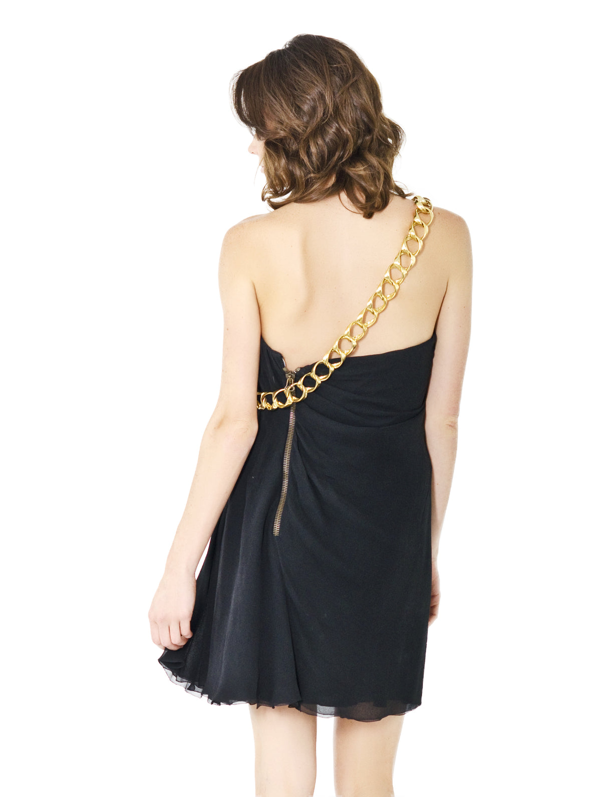 Vintage Balmain Paris Couture – Black and Gold Chain Cocktail Dress - Size 38