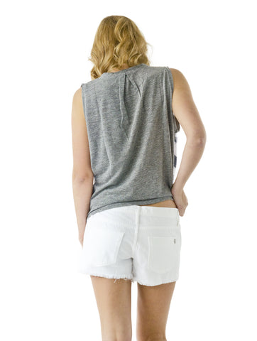 Rugby Stripe Tank With Pleats - Gray - Stateside