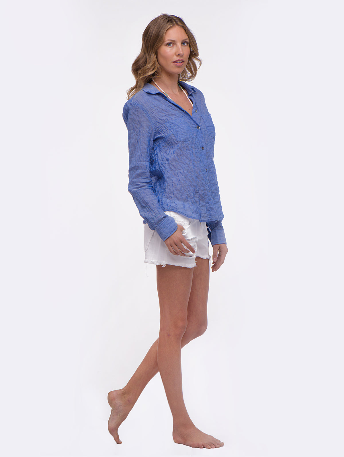 Solid Blue Sagaponack Blouse