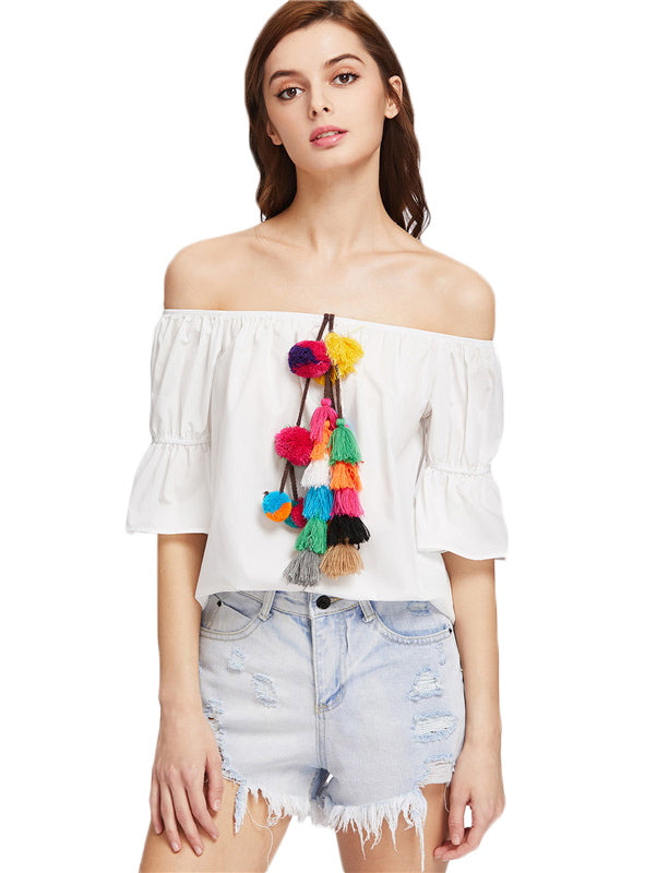 Pom-pom Tassel Exposed Shoulder Peasant Blouse