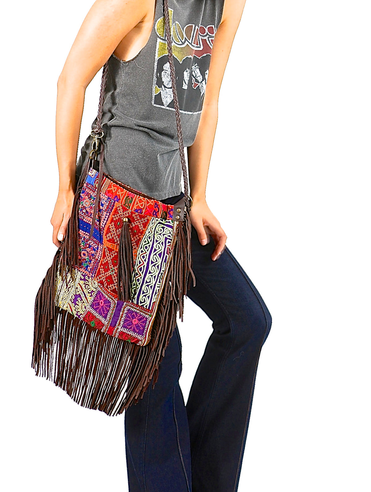 SUPINE SUEDE FRINGE CROSS BODY BAG - JADETRIBE
