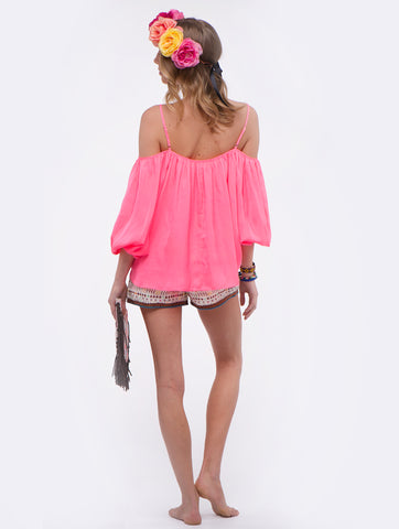 Love Sam Electric Pink Marielli Cold Shoulder Top