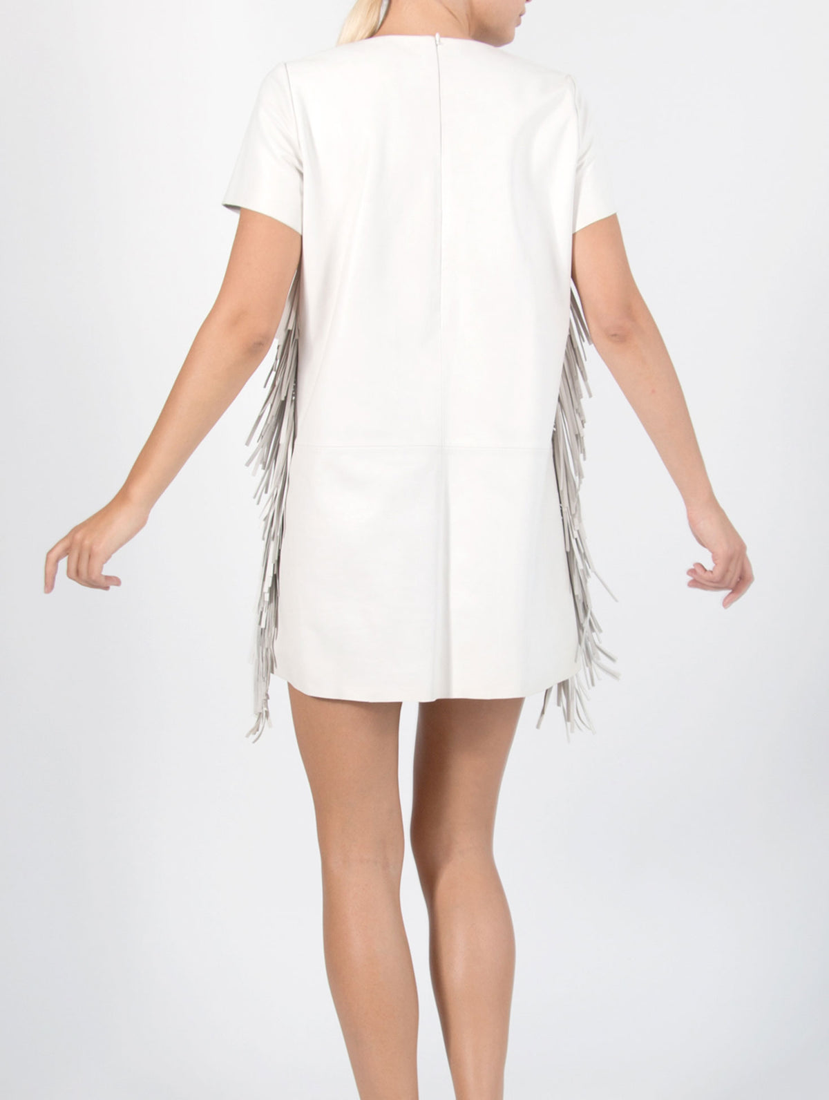Nappa Leather Fringe Dress - Cream