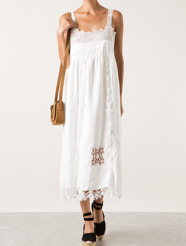 Midi Lace Long Romantic Dress - White by Place Nationale shopamla